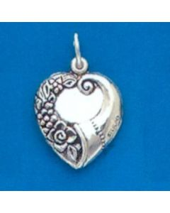 Sterling Silver Heart Charm: Puff
