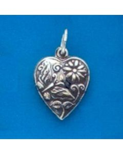 Sterling Silver Heart Charm: Puff, Butterfly/Flower