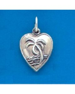 Sterling Silver Heart Charm: Puff, w/ Palm Tree