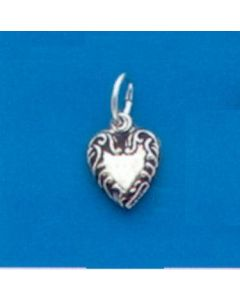 Sterling Silver Heart Charm: Puff, Tiny