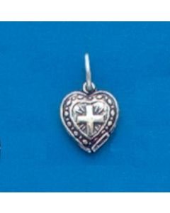 Sterling Silver Heart Charm: Puff, Tiny w/Cross