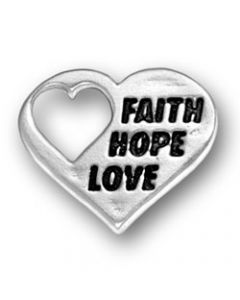 "Sterling Silver Heart Charm: w/ ""Faith, Hope Love"""