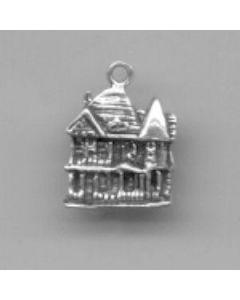 Sterling Silver House Charm: Victorian, Flat, One Sided
