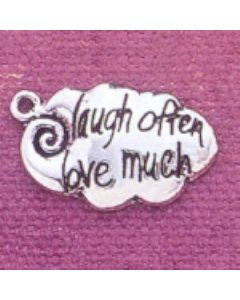 "Sterling Silver Inspirational Charm: ""Laugh Often, Love Much"""