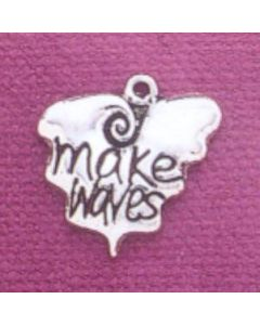 "Sterling Silver Inspirational Charm: ""Make Waves"""