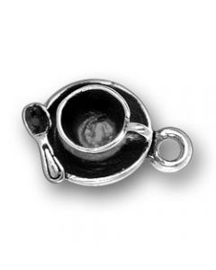 Sterling Silver Coffee Cup Charm: Saucer, Spoon