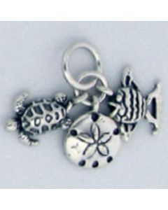 Sterling Silver Beach Charm: Sand Dollar, Fish, and Turtle Trio