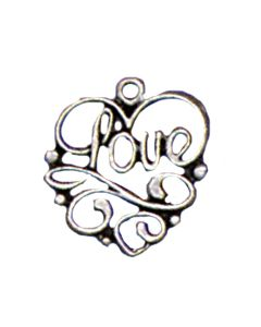 "Sterling Silver Love Charm: ""Love"" On Heart  XX-1416"
