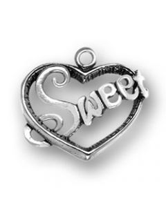"Sterling Silver Sweetheart Charm: ""Sweet"" On Heart"