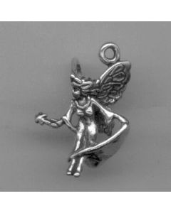 Sterling Silver Fairy Charm: w/ Long Dress & Wand