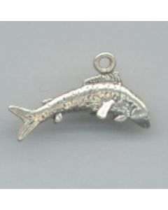 Sterling Silver Fishing Charm: Trout, Large