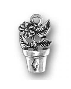 Sterling Silver Flower Charm: In 1/2 Pot, (3 Leaves)