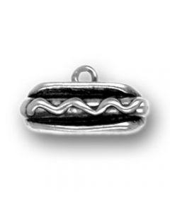 Sterling Silver Hot Dog Charm: Horizontal
