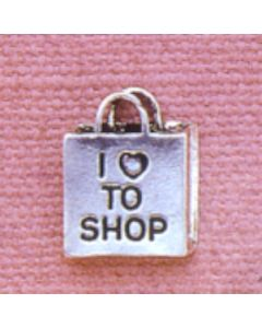 "Sterling Silver Shopping Charm: ""I Love To Shop"" On Bag"