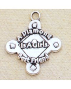 Sterling Silver Softball Charm: A Diamond Is A Girls Best Friend