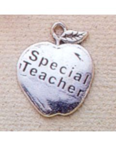 Sterling Silver Special Teacher On Apple Charm