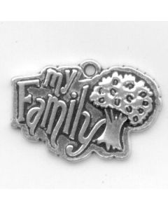 """Sterling Silver Family Tree Charm: """"My Family"""" On Tree"""