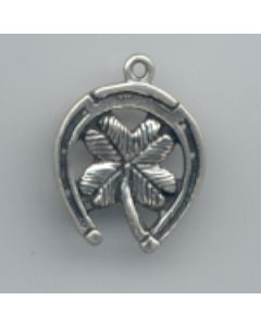 Sterling Silver Good Luck Clover & Horseshoe Charm