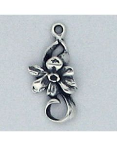 Sterling Silver Flower Charm: Narcissus (December Birth Month Flower)