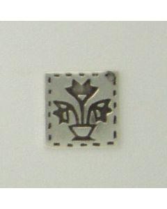 Sterling Silver Quilt Square Charm: Basket Of Tulips