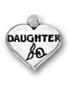 "Sterling Silver ""Daughter"" On Heart Charm Z-826"