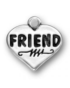 "Sterling Silver Friend Charm: ""Friend"" On Heart"