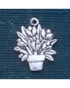 Sterling Silver Flower Charm: Pot Of Flowers, Large, Flat, 2 Sided
