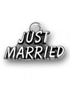 "Sterling Silver Wedding Charm: ""Just Married"""