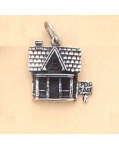 Sterling Silver House Charm: w/ For Sale Sign