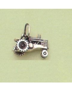 Sterling Silver Tractor: John Deere Style Tractor Charm, Stationary Wheels