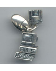Sterling Silver Computer Charm: 3 Piece Set, Computer, Mouse, Disc