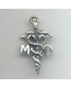 "Sterling Silver Doctor Charm: ""MD"" On Caduceus"