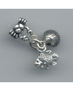 Sterling Silver Beach Charm: Crab, Shell, and Fish Trio