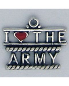 "Sterling Silver Military Charm: ""I Love The Army"