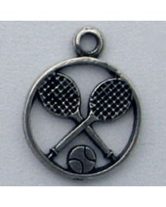 Sterling Silver Tennis Racquets W/ Ball In Circle Charm