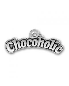 """Sterling Silver Chocolate Charm: """"Chocoholic"""""""